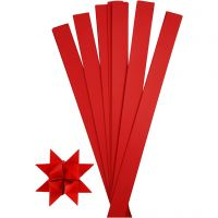 Tiras de papel para estrellas, L. 73 cm, dia: 11,5 cm, A: 25 mm, rojo, 100 tiras/ 1 paquete