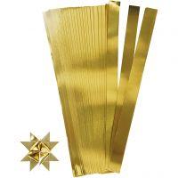 Tiras de papel para estrellas, L. 73 cm, dia: 11,5 cm, A: 25 mm, dorado, 100 tiras/ 1 paquete