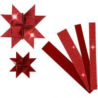 Tiras de papel para estrellas, L. 44+78 cm, dia: 6,5+11,5 cm, A: 15+25 mm, purpurina,barniz, rojo, 40 tiras/ 1 paquete