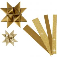 Tiras de papel para estrellas, L. 44+78 cm, dia: 6,5+11,5 cm, A: 15+25 mm, purpurina,barniz, dorado, 40 tiras/ 1 paquete
