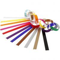 Cadenas de papel, L. 16 cm, A: 15 mm, surtido de colores, 400 ud/ 1 paquete