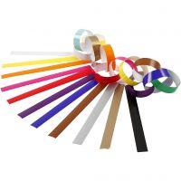 Cadenas de papel, L. 16 cm, A: 15 mm, surtido de colores, 2400 ud/ 1 paquete