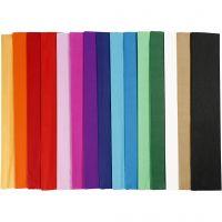 Papel crepé, L. 2,5 m, A: 50 cm, 22 gr, surtido de colores, 60 pliegues/ 1 paquete