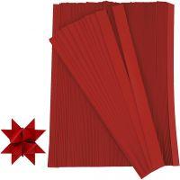 Tiras de papel para estrellas, L. 45 cm, dia: 6,5 cm, A: 15 mm, rojo, 500 tiras/ 1 paquete