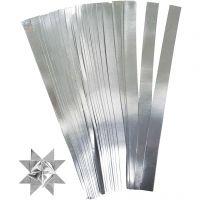 Tiras de papel para estrellas, L. 45 cm, dia: 6,5 cm, A: 15 mm, plata, 100 tiras/ 1 paquete