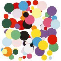Formas de cartulina, círculos, dia: 10+15+20 mm, 180 gr/ 1 paquete