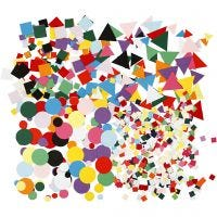 Figuras de cartulina para mosaico, medidas 10+15+20 mm, surtido de colores, 8x180 gr/ 1 paquete