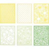 Bloc de Cartulinas de Patrones de Encaje, A6, 104x146 mm, 200 gr, verde, verde claro, amarillo, amarillo claro, 24 ud/ 1 paquete