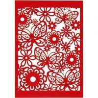 Cartulina con dibujos de encaje, 10,5x15 cm, 200 gr, rojo, 10 ud/ 1 paquete