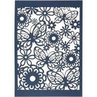 Cartulina con dibujos de encaje, 10,5x15 cm, 200 gr, azul, 10 ud/ 1 paquete