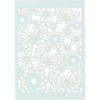 Cartulina con dibujos de encaje, 10,5x15 cm, 200 gr, azul claro, 10 ud/ 1 paquete