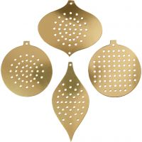 Cartulina para punto de cruz, Adorno de Navidad, A: 8,5-12 cm, medida agujero 3 mm, dorado metalizado, 8 ud/ 1 paquete