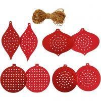 Cartulina para punto de cruz, Ornamentos de Navidad , A: 8,5-12 cm, medida agujero 3 mm, 280 gr, rojo metalizado, 32 ud/ 1 paquete