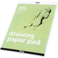 Papel de dibujo, A4, 210x297 mm, 120 gr, blanco, 30 hoja/ 1 ud