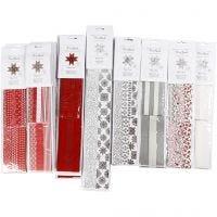 Tiras de papel para estrella, L. 45+86+100 cm, dia: 6,5+11,5+18 cm, A: 15+25+40 mm, negro, rojo, plata, blanco, 18 paquete/ 1 paquete