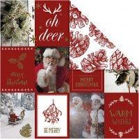 Papel estampado, Motivos navideños y piñas, 180 gr, dorado, rojo, 3 hoja/ 1 paquete
