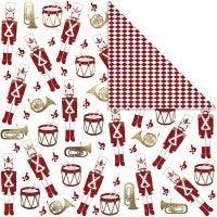 Papel estampado, Cascanueces, 180 gr, dorado, rojo, blanco, 3 hoja/ 1 paquete
