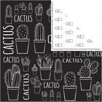 Papel estampado, cactus, 180 gr, 5 hoja/ 1 paquete