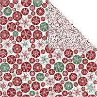Papel estampado, copos de nieve y puntitos, 30,5x30,5 cm, 180 gr, 5 hoja/ 1 paquete