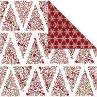 Papel estampado, Árboles de navidad y copos de nieve, 30,5x30,5 cm, 180 gr, dorado, rojo, blanco, 3 hoja/ 1 paquete