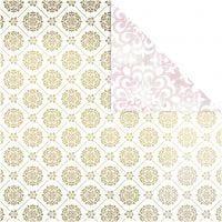 Papel estampado, acuarela, 30,5x30,5 cm, 180 gr, dorado, blanco, 3 hoja/ 1 paquete