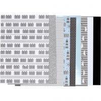 Bloc de papel de diseño, medidas 21x30 cm, 120+128 gr, negro, azul, gris, blanco, 24 hoja/ 1 paquete