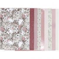 Bloc de papel de diseño, medidas 21x30 cm, 120+128 gr, beige, marrón, rosado, blanco, 24 hoja/ 1 paquete