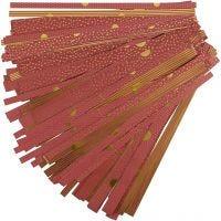 Tiras de papel para estrella, L. 44+78 cm, dia: 6,5+11,5 cm, A: 15+25 mm, dorado, rojo, 48 tiras/ 1 paquete