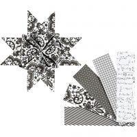 Tiras de papel para estrella, L. 100 cm, dia: 18 cm, A: 40 mm, negro, blanco, 40 tiras/ 1 paquete