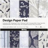 Bloc de papel de diseño, 15,2x15,2 cm, 120 gr, azul, gris, 50 hoja/ 1 paquete