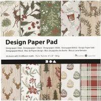 Bloc de papel de diseño, 15,2x15,2 cm, 120 gr, marrón, rojo, 50 hoja/ 1 paquete