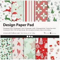 Bloc de papel de diseño, 15,2x15,2 cm, 120 gr, verde, rojo, blanco, 50 hoja/ 1 paquete