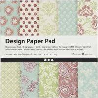 Bloc de papel de diseño, 15,2x15,2 cm, 120 gr, verde menta, morado, 50 hoja/ 1 paquete