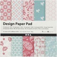 Bloc de papel de diseño, 15,2x15,2 cm, 120 gr, rosado, 50 hoja/ 1 paquete