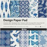 Bloc de papel de diseño, 15,2x15,2 cm, 120 gr, azul, 50 hoja/ 1 paquete