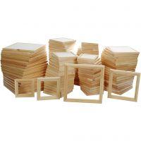 Marcos de madera con lienzo, blanco, 120 ud/ 1 paquete