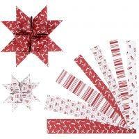 Tiras de papel para estrella, L. 44+78 cm, dia: 6,5+11,5 cm, A: 15+25 mm, rojo, blanco, 60 tiras/ 1 paquete