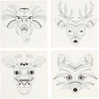 Lienzos impresos, Animales, medidas 20x20 cm, 280 gr, blanco, 4 ud/ 1 paquete