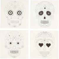 Lienzos impresos, cráneos, medidas 20x20 cm, 280 gr, blanco, 4 ud/ 1 paquete