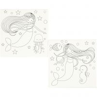 Lienzos impresos, Sirena, medidas 20x20 cm, 280 gr, blanco, 2 ud/ 1 paquete