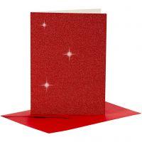 Postales y sobres, medida tarjeta 10,5x15 cm, medida sobre 11,5x16,5 cm, purpurina, 110+250 gr, rojo, 4 set/ 1 paquete