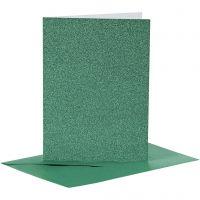 Postales y sobres, medida tarjeta 10,5x15 cm, medida sobre 11,5x16,5 cm, purpurina, 110+250 gr, verde, 4 set/ 1 paquete