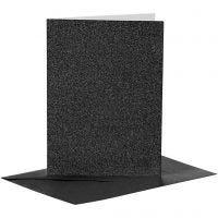 Postales y sobres, medida tarjeta 10,5x15 cm, medida sobre 11,5x16,5 cm, purpurina, 110+250 gr, negro, 4 set/ 1 paquete