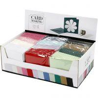 Tarjetas y sobres, medida tarjeta 15,2x15,2 cm, medida sobre 16x16 cm, 230 gr, surtido de colores, 12x10 paquete/ 1 paquete