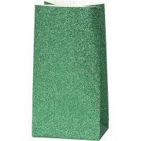 Bolsas de papel, A: 17 cm, medidas 6x9 cm, 150 gr, verde, 8 ud/ 1 paquete