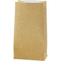 Bolsas de papel, A: 17 cm, medidas 6x9 cm, 170 gr, dorado, 8 ud/ 1 paquete