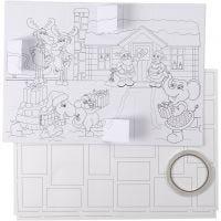 Calendario de adviento, medidas 30x42 cm, blanco, 5 ud/ 1 paquete