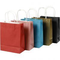 Bolsas de papel, A: 23 cm, A: 18x9 cm, 125 gr, surtido de colores, 10 ud/ 1 paquete