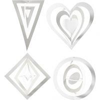 Ornamentos 3D, A: 18+22+24 cm, A: 15+18+22 cm, 230 gr, blanco, 16 ud/ 1 paquete