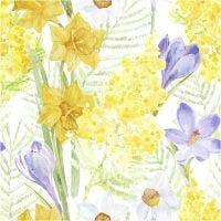 Servilletas, flores de primavera, medidas 33x33 cm, 20 ud/ 1 paquete